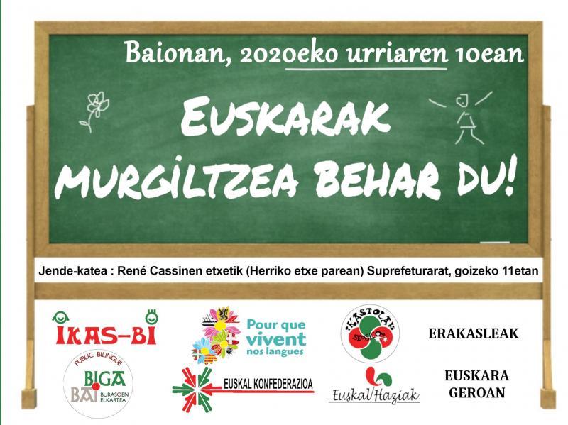 Une chaîne humaine en défense de l'enseignement en euskara