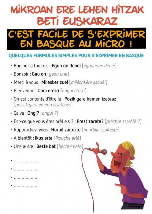 C'est facile de s'exprimer en basque au micro