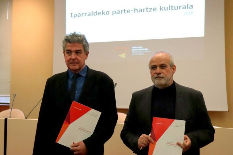 Joxean Munoz (Gouvernement Basque) et Pantxoa Etchegoin (ICB) à la CCI Bayonne Pays Basque, 19-12-2019 © Jakes Larre (ICB)