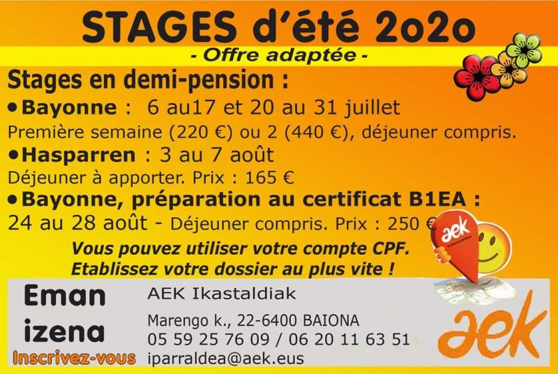 Été 2020 : l'offre des stages de langue basque