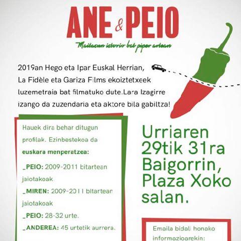 Recherche d'acteurs pour le film Ane eta Peio