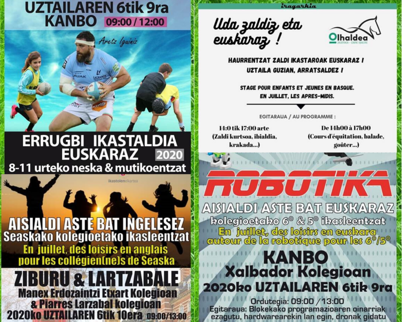 Propositions d'activités en euskara pour cet été